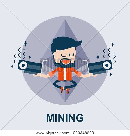 Ethereum or Another Cyptocurrency Mining - Cartoon Comic Vector Concept. Illustration of Blockchain and GPU Mining. The Miner Holds Two Videocards - ETH Cartoon Mining Concept.