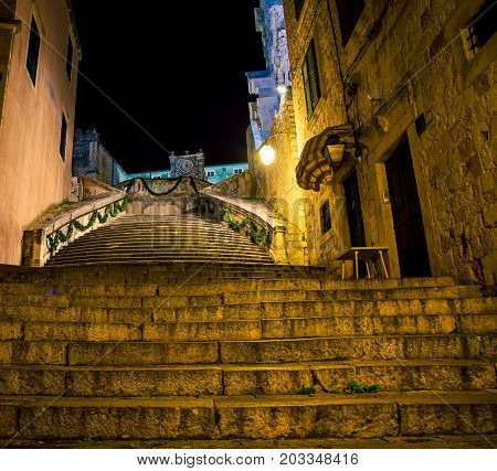 Stairs of shame at night in Croatia