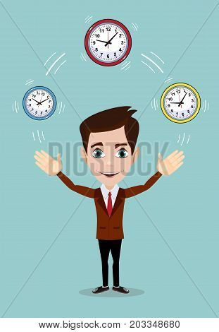 Businessman plays with Time, symbolizing time management. Stock vector illustration