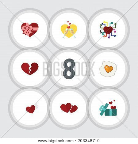 Flat Icon Amour Set Of Scrambled, Soul, Celebration And Other Vector Objects