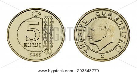 Turkish coin currency five Kurus made of 2,90 gram nickel and copper zinc alloy isolated.