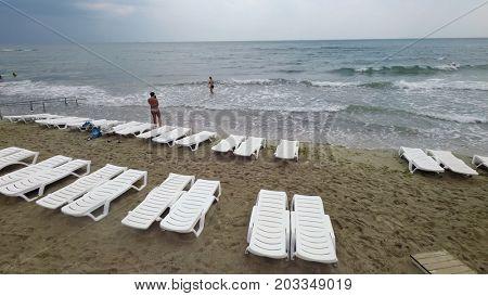 Black sea beach after rain