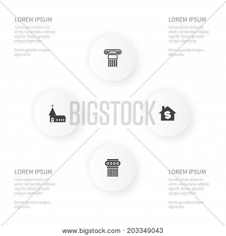 Icon Construction Set Of Sculpture, Chapel, House And Other Vector Objects