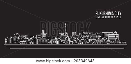 Cityscape Building Line art Vector Illustration design - Fukushima city