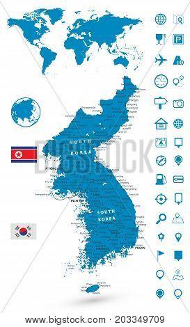 Detailed map of Korean Peninsula with World map navigation set. Vector illustration.