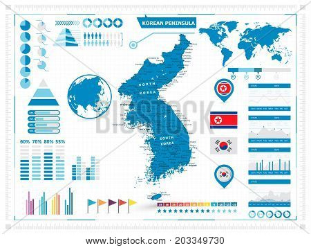 Detailed map of Korean Peninsula with infograpchic elements. Vector illustration.