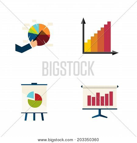 Flat Icon Chart Set Of Graph, Monitoring, Segment And Other Vector Objects