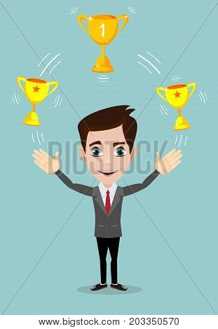 Businessman juggling with gold trophy goblet , he celebrates his victory. Stock flat vector illustration.