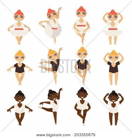 Vector set with cute little ballerinas in various dance steps. Caucasian and afro girls in ballet tutu and swimwear.