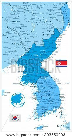 Korean Peninsula Map in colors of blue isolated on white North And South Korea Map with cities and capitals.