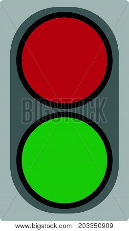 Small two-color traffic light. Object illustration. Vector.