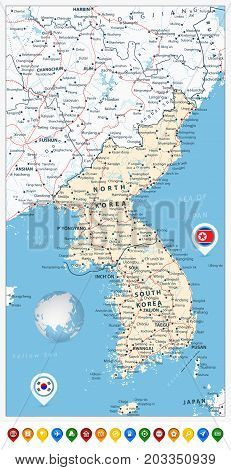 Korean Peninsula Road Map and Map Pointers with roads railroads water objects cities and capitals.