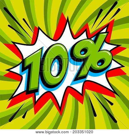 Green sale web banner. Sale ten percent 10 off on a Comics pop-art style bang shape on green twisted background. Big sale background. Pop art comic sale discount promotion banner. Seasonal discounts, Black Friday, the interest rate, etc. Perfect for tags