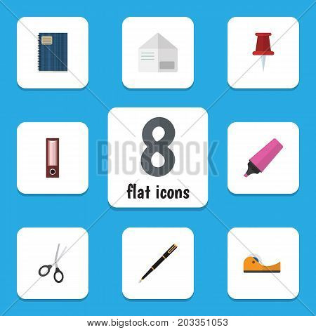 Flat Icon Equipment Set Of Letter, Dossier, Marker And Other Vector Objects