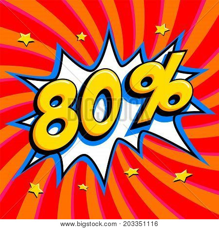 Red sale web banner. Sale eighty percent 80 off on a Comics pop-art style bang shape on red twisted background. Big sale background. Pop art comic sale discount promotion banner. Seasonal discounts, Black Friday, the interest rate, etc. Perfect for tags b