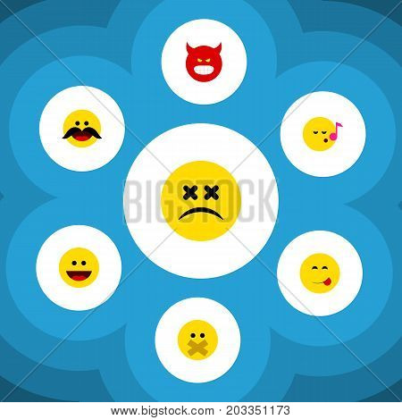 Flat Icon Expression Set Of Cheerful, Laugh, Delicious Food And Other Vector Objects