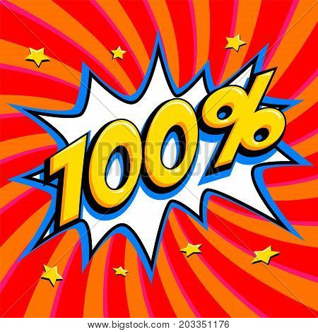 Red sale web banner. Sale one hundred percent 100 off on a Comics pop-art style bang shape on red twisted background. Big sale background. Pop art comic sale discount promotion banner. Seasonal discounts, Black Friday, the interest rate, etc. Perfect for