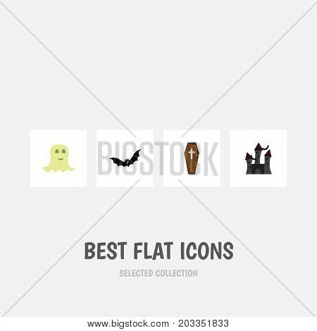 Flat Icon Halloween Set Of Superstition, Fortress, Casket And Other Vector Objects