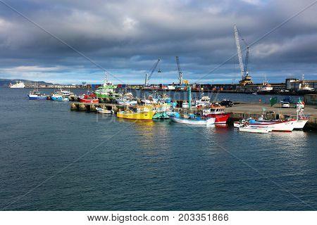 PONTA DELGADA, 10 AUGUST 2017 - Ships in Ponta Delgada Harbour, Sao Miguel Island, Azores, Portugal, Europe