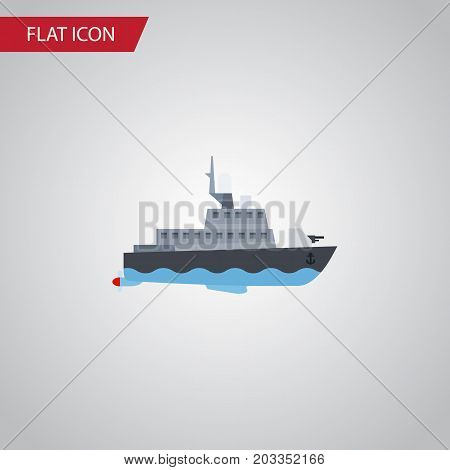 Ship Vector Element Can Be Used For Ship, Boat, Transport Design Concept.  Isolated Boat Flat Icon.