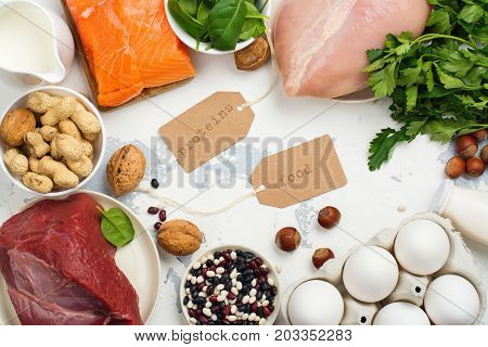 High protein food. Healthy nutrition or diet concept. Products for strong hair