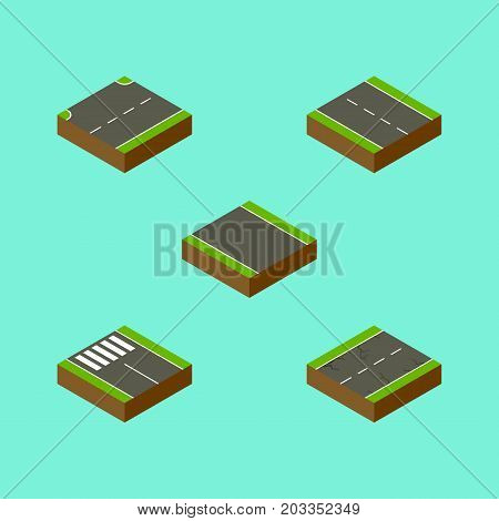 Isometric Road Set Of Without Strip, Strip, Upwards And Other Vector Objects