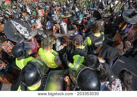 June 24 2017 Cotacachi Ecuador: riot police on duty at the Inti Raymi parade at summer solstice
