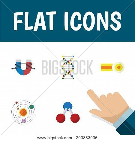 Flat Icon Study Set Of Genome, Chemical, Milky Way And Other Vector Objects