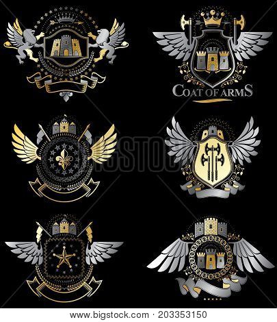 Vector classy heraldic Coat of Arms. Collection of blazons stylized in vintage design and created with graphic elements royal crowns and flags stars towers armory religious crosses.