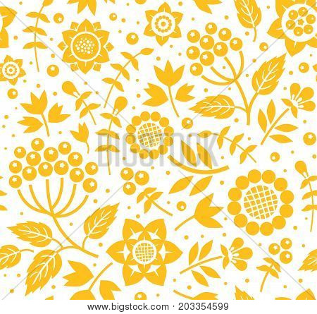 Berries and twigs, decorative background, seamless, white and yellow, vector. Yellow twigs with berries and flowers on white background. Floral seamless pattern.