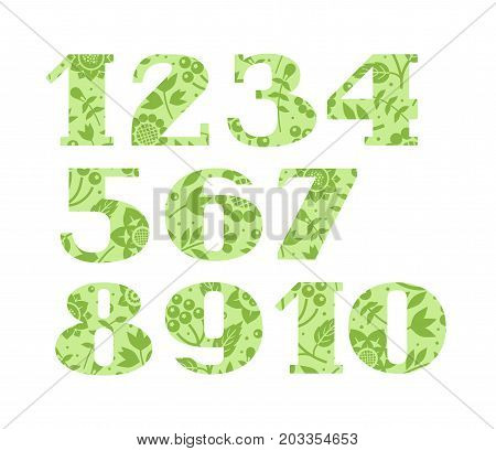 Numbers, green flowers and berries, vector. Figures with serifs. Green twigs with berries and flowers on light green background.