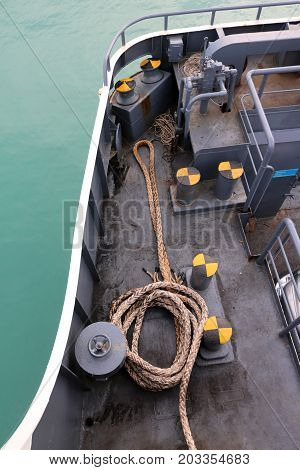 Bollard and rope on the ferry boat in gulf of Thailand.