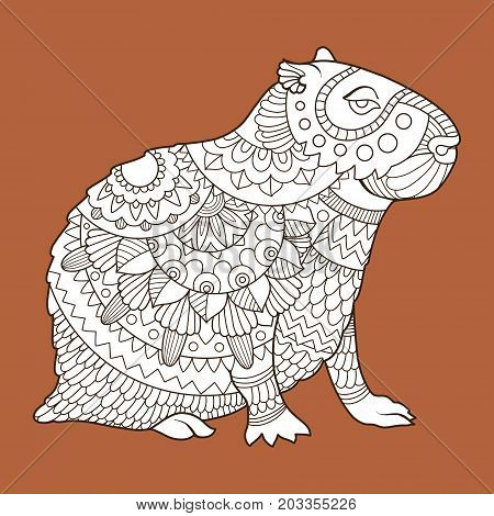 Capybara rodent animal fashion vector illustration. Lace pattern