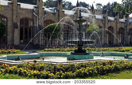 KISLOVODSK, RUSSIA - SEPTEMBER 06, 2017:Fountain and drinking gallery on Kurortnoy Boulevard.Resort park - ornament and pride of Kislovodsk,Caucasus, Russia