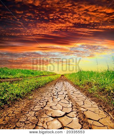 cracked rural road in green grass and cloudy sky