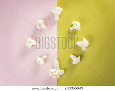 Piece cauliflower vegetable fresh. Time to reap harvest crop. On colored background.