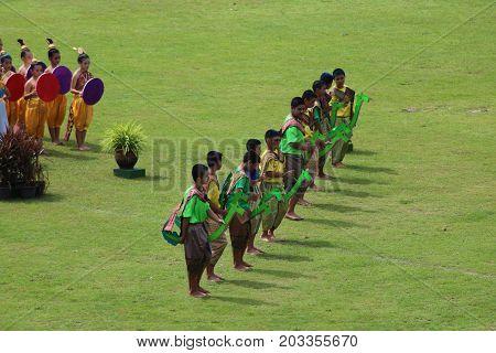 Thai dance performances of students in the stadium Darunothai School Trang Thailand August 19 2016.