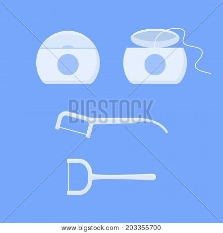 Set of dental floss and toothpick isolated on blue background. Flat style vector illustration.