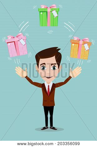 Happy man juggling gift box with bow. Stock flat vector illustration.