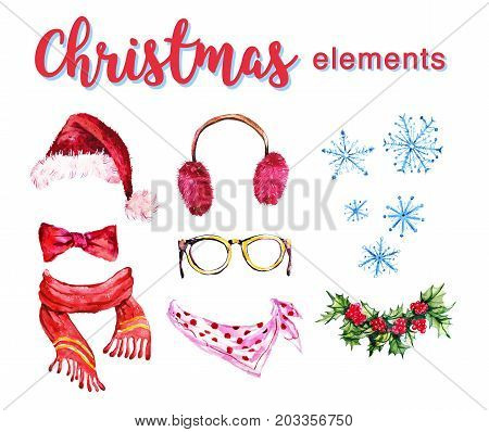 Artistic set of hand drawn watercolor winter objects isolated on white background - santa hat furry headphones holly wreath scarf and snowflake. Good for any Christmas and New year design.
