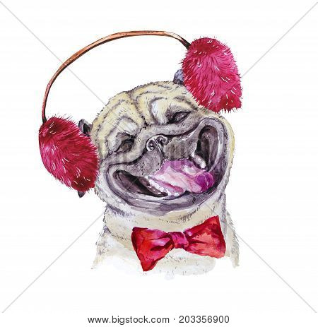 Watercolor artistic pug dog with bow and winter furry headphones portrait isolated on white background. Cute pet animal head hand drawn. Pug puppy. New Year symbol christmas card xmas emblem.