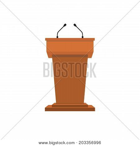 Pulpit podium in wood color. vector illustration