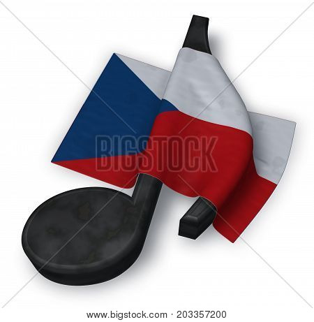 music note symbol symbol and czech flag - 3d rendering
