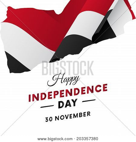 Banner or poster of Yemen independence day celebration. Yemen map. Waving flag. Vector illustration.