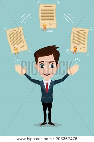 Vector illustration of businessman proudly standing and showing a diploma. Flat style