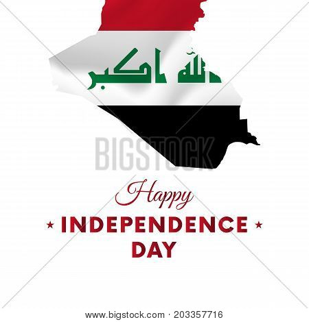Banner or poster of Iraq independence day celebration. Iraq map. Waving flag. Vector illustration.