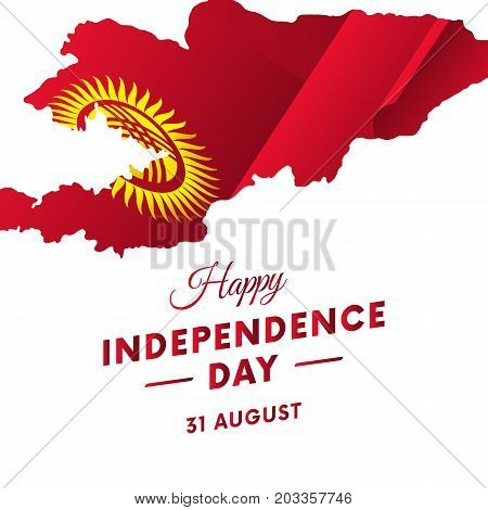 Banner or poster of Kyrgyzstan independence day celebration. Kyrgyzstan map. Waving flag. Vector illustration.