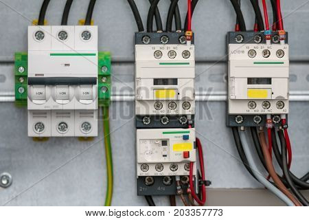 Different electric detail - transistors or resistors - security electronic equipment, close up