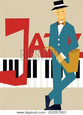 Template of poster for jazz music concert. Man with the saxophone and piano keyboard. Vector illustration.