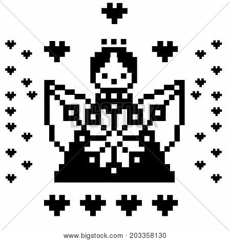 Pixel art angel, heaven, characters isolated on white background. Vector illustration. Template for embroidery with a cross
